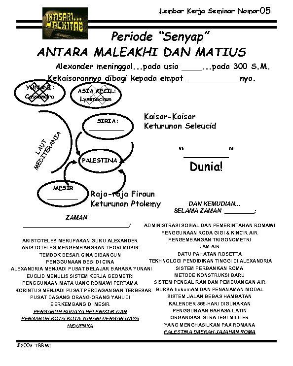 """Lembar Kerja Seminar Nomor 05 Periode """"Senyap"""" ANTARA MALEAKHI DAN MATIUS Alexander meninggal. ."""