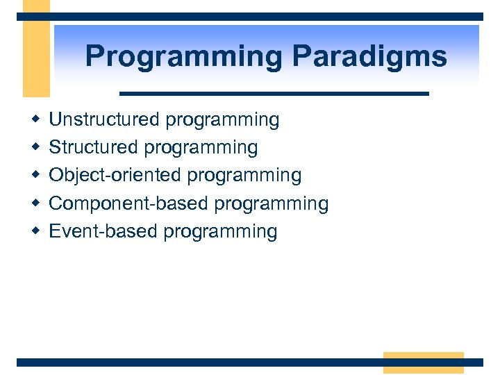 Programming Paradigms w w w Unstructured programming Structured programming Object-oriented programming Component-based programming Event-based