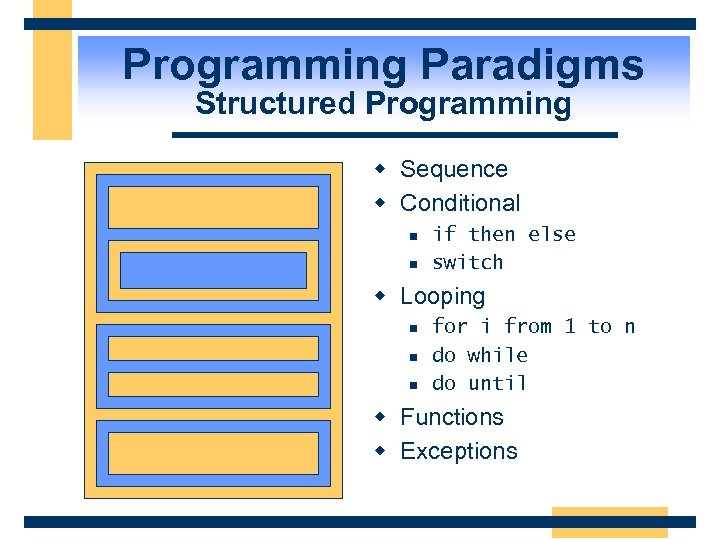 Programming Paradigms Structured Programming w Sequence w Conditional n n if then else switch