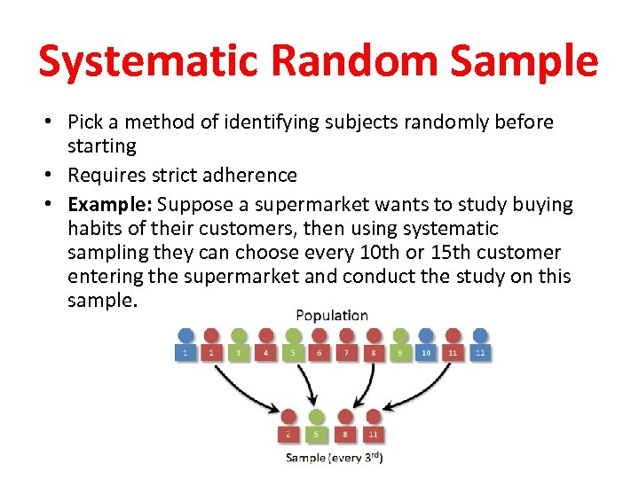 Systematic Random Sample • Pick a method of identifying subjects randomly before starting •