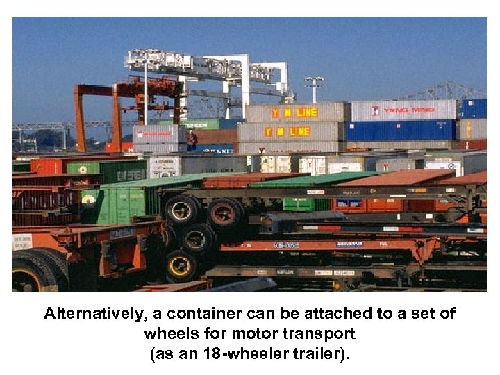 Alternatively, a container can be attached to a set of wheels for motor transport