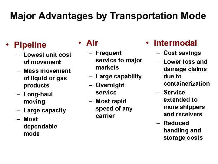 Major Advantages by Transportation Mode • Pipeline – Lowest unit cost of movement –
