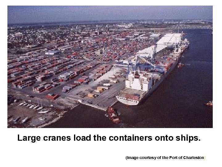 Large cranes load the containers onto ships. (Image courtesy of the Port of Charleston)