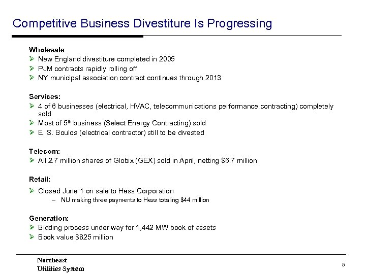 Competitive Business Divestiture Is Progressing Wholesale: Ø New England divestiture completed in 2005 Ø