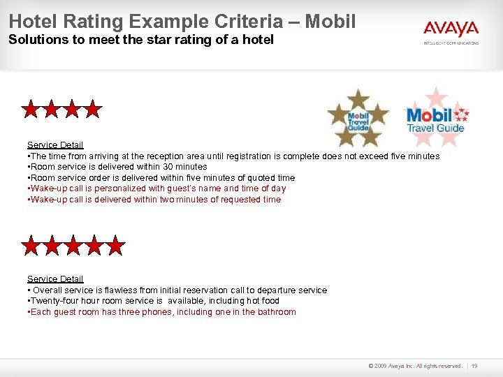 Hotel Rating Example Criteria – Mobil Solutions to meet the star rating of a
