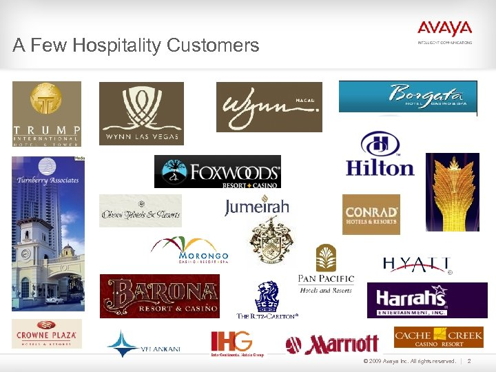 A Few Hospitality Customers © 2009 Avaya Inc. All rights reserved. 2