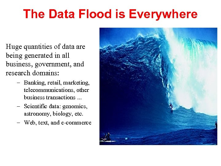The Data Flood is Everywhere Huge quantities of data are being generated in all