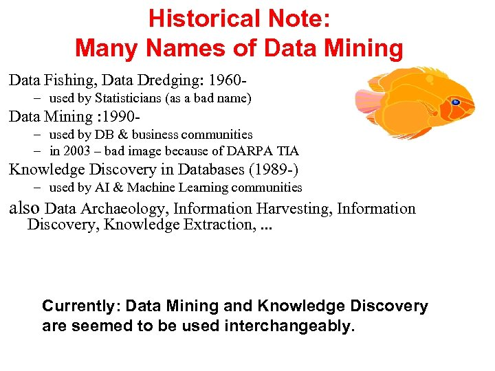 Historical Note: Many Names of Data Mining Data Fishing, Data Dredging: 1960– used by