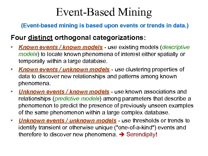 Event-Based Mining (Event-based mining is based upon events or trends in data. ) Four