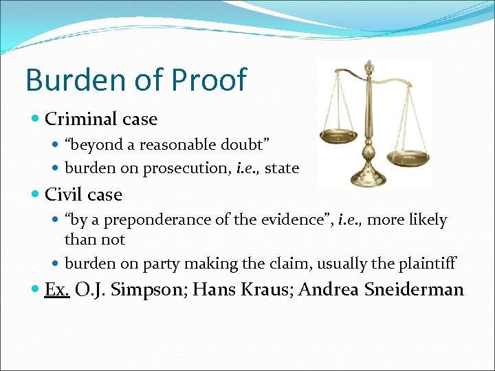 "Burden of Proof Criminal case ""beyond a reasonable doubt"" burden on prosecution, i. e."
