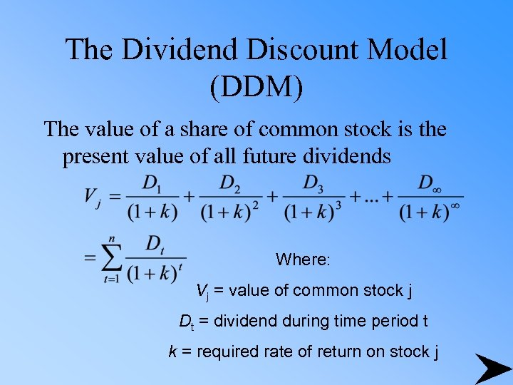 The Dividend Discount Model (DDM) The value of a share of common stock is