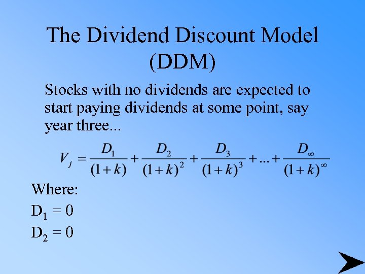 The Dividend Discount Model (DDM) Stocks with no dividends are expected to start paying