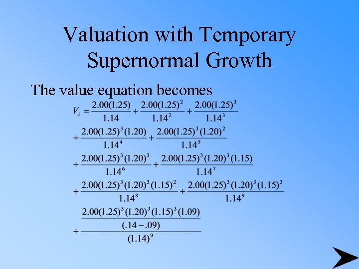 Valuation with Temporary Supernormal Growth The value equation becomes