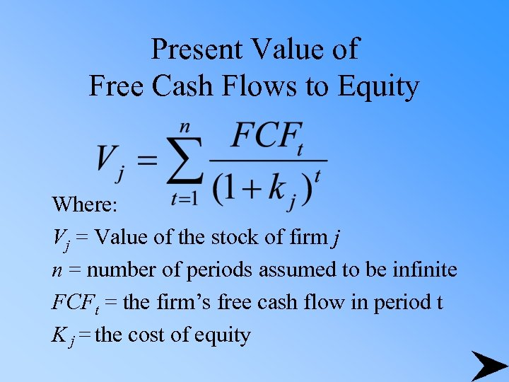 Present Value of Free Cash Flows to Equity Where: Vj = Value of the