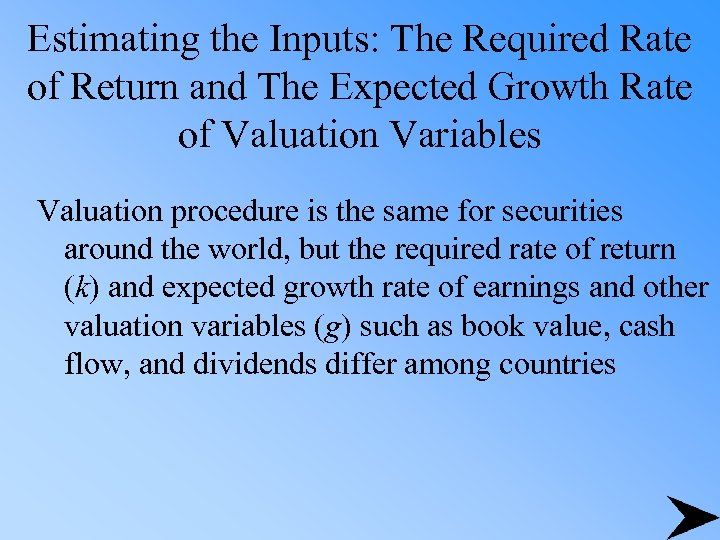 Estimating the Inputs: The Required Rate of Return and The Expected Growth Rate of