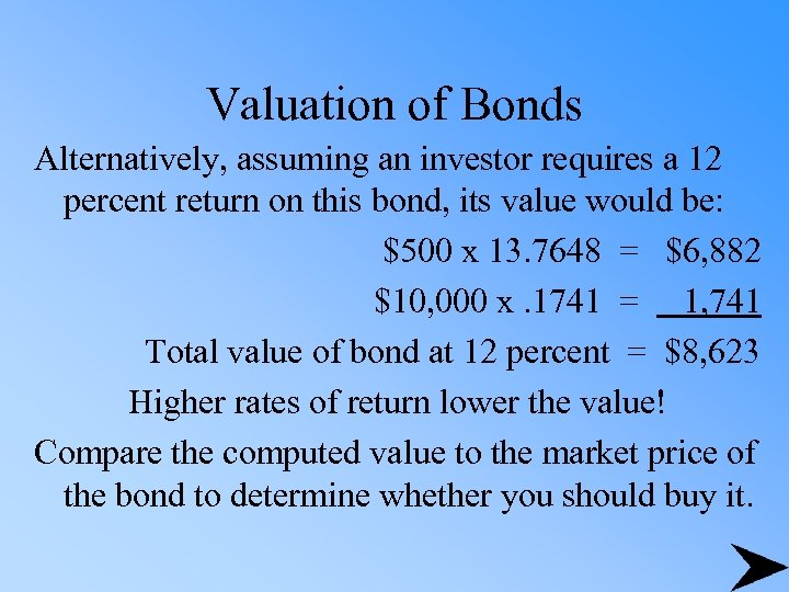Valuation of Bonds Alternatively, assuming an investor requires a 12 percent return on this