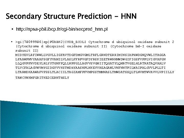 Secondary Structure Prediction - HNN • http: //npsa-pbil. ibcp. fr/cgi-bin/secpred_hnn. pl • >gi|78099986|sp|P 0
