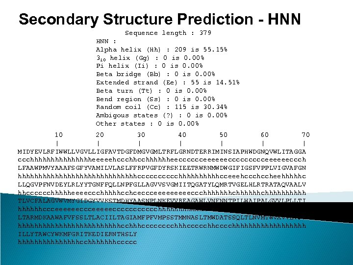 Secondary Structure Prediction - HNN Sequence length : 379 HNN : Alpha helix (Hh)
