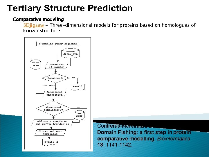 Tertiary Structure Prediction Comparative modeling 3 Djigsaw - Three-dimensional models for proteins based on