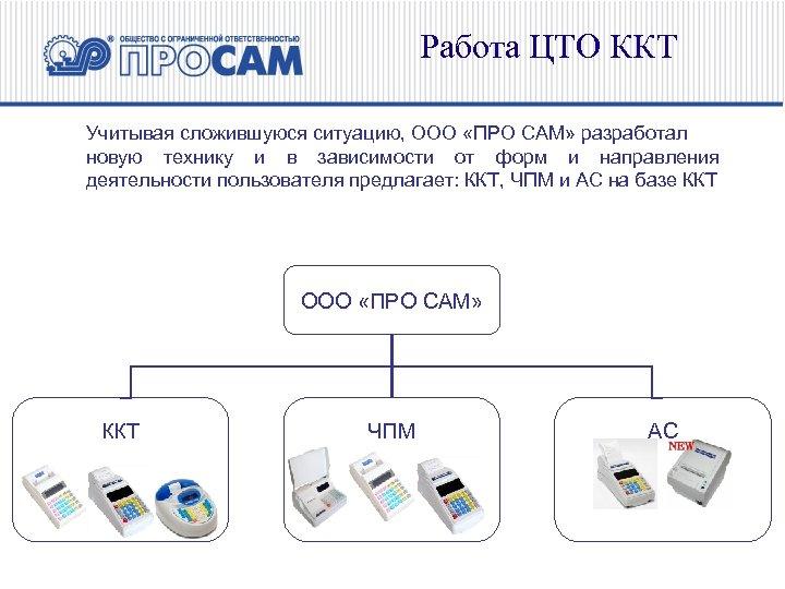 Работа ЦТО ККТ Учитывая сложившуюся ситуацию, ООО «ПРО САМ» разработал новую технику и в