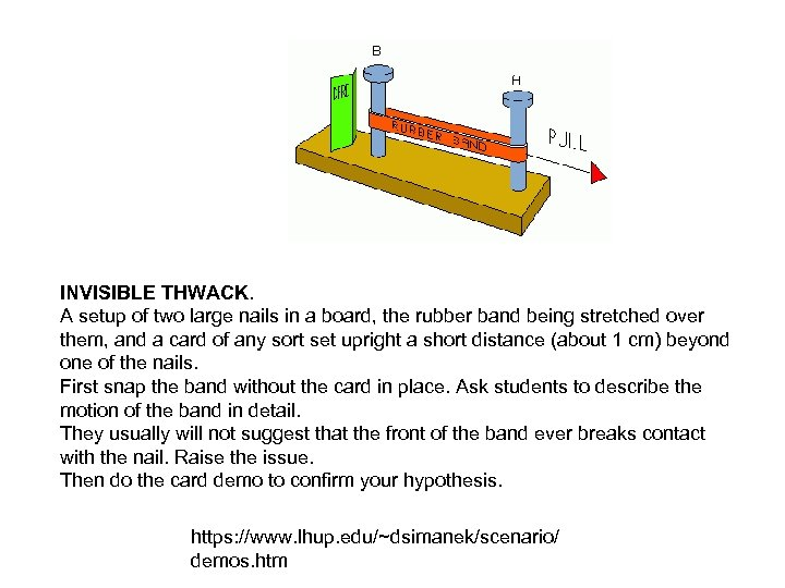 INVISIBLE THWACK. A setup of two large nails in a board, the rubber band