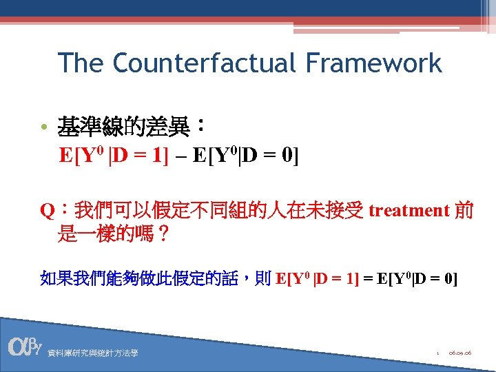 The Counterfactual Framework • 基準線的差異: E[Y 0 |D = 1] – E[Y 0|D =
