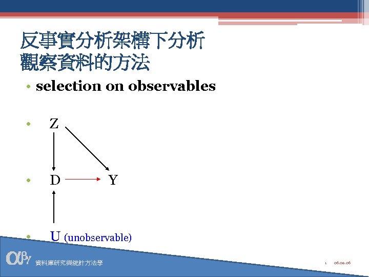 反事實分析架構下分析 觀察資料的方法 • selection on observables • Z • D • U (unobservable) 資料庫研究與統計方法學