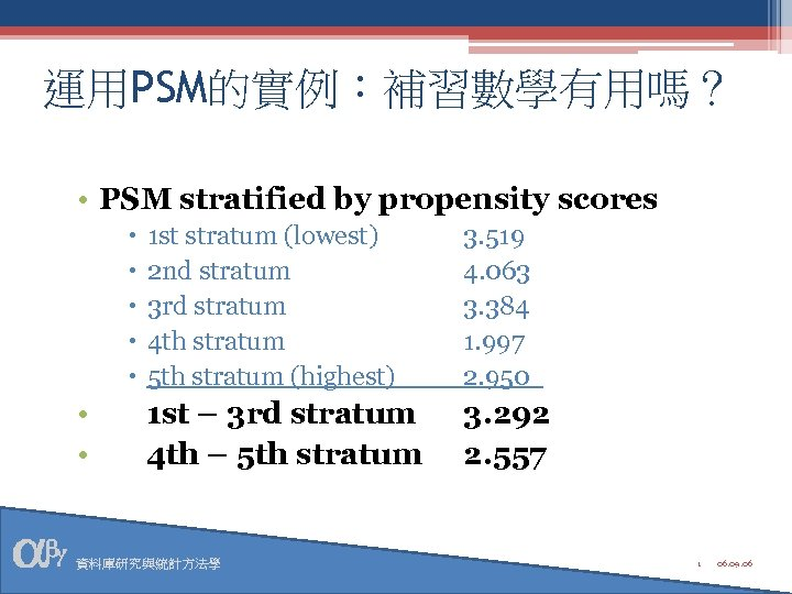 運用PSM的實例:補習數學有用嗎? • PSM stratified by propensity scores • • 1 st stratum (lowest) 2