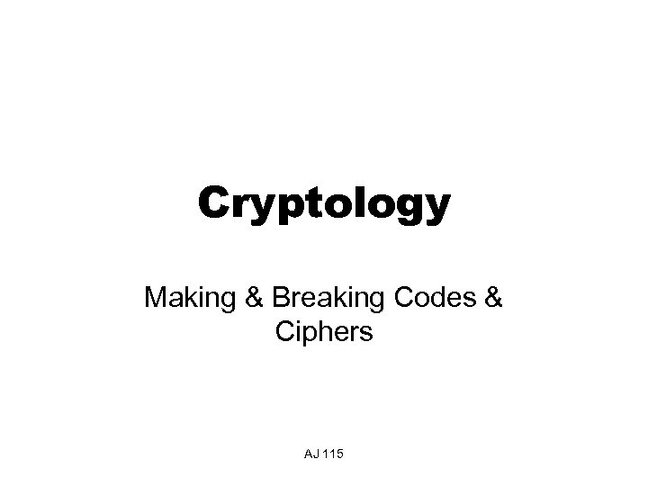 Cryptology Making & Breaking Codes & Ciphers AJ 115