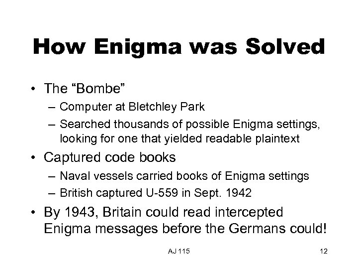 "How Enigma was Solved • The ""Bombe"" – Computer at Bletchley Park – Searched"