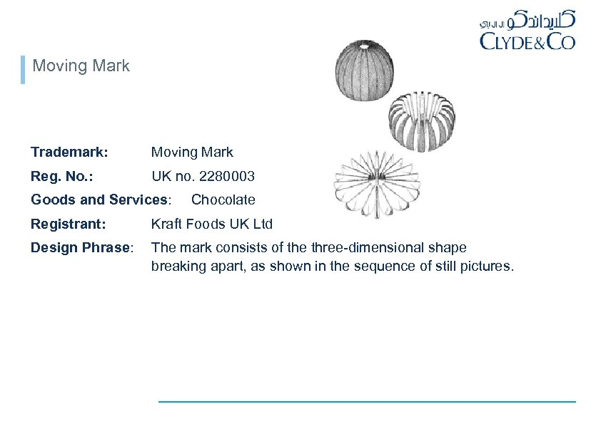 Moving Mark Trademark: Moving Mark Reg. No. : UK no. 2280003 Goods and Services: