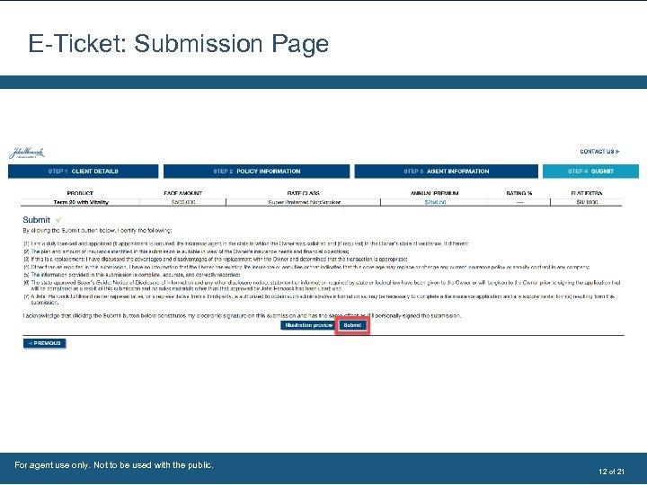 E-Ticket: Submission Page For agent use only. Not to be used with the public.