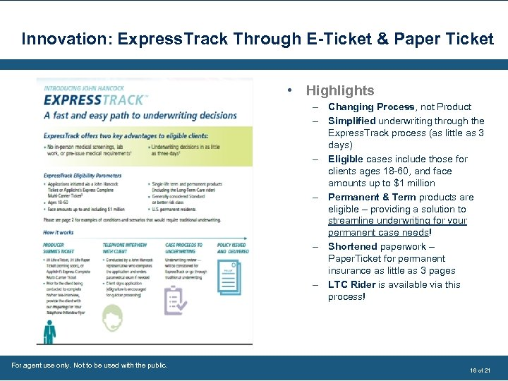 Innovation: Express. Track Through E-Ticket & Paper Ticket • Highlights – Changing Process, not