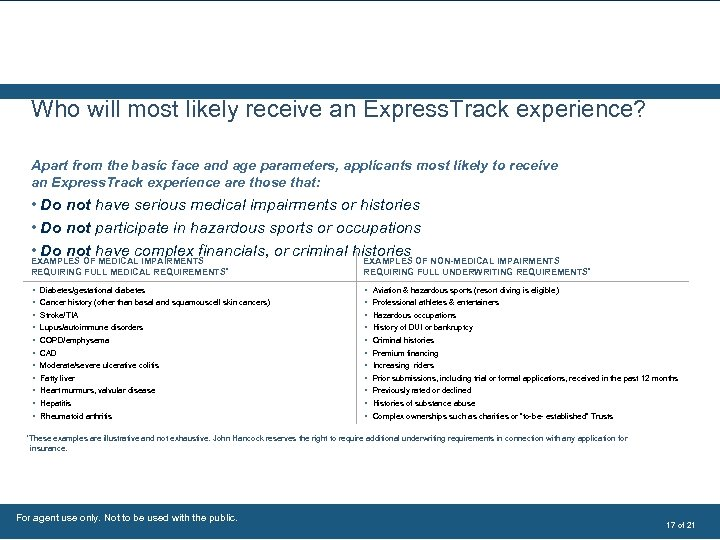 Who will most likely receive an Express. Track experience? Apart from the basic face