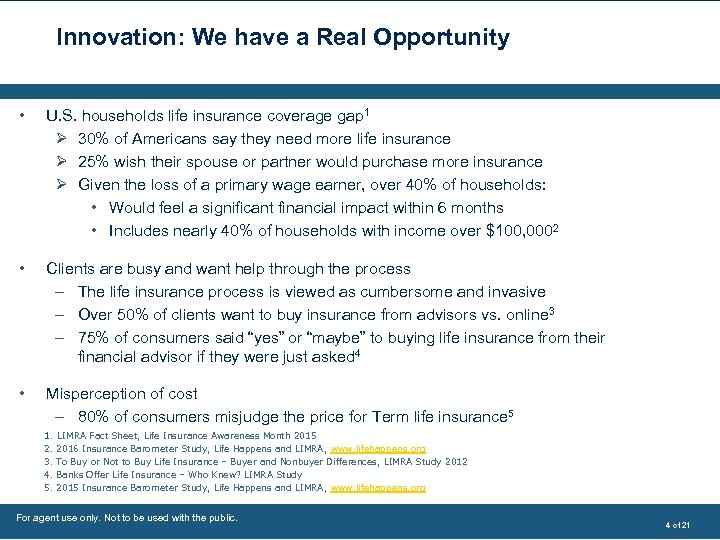 Innovation: We have a Real Opportunity • U. S. households life insurance coverage gap
