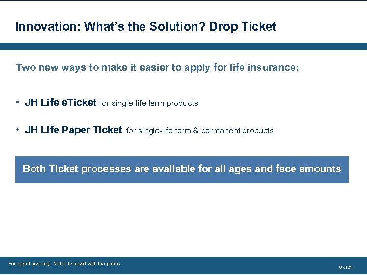 Innovation: What's the Solution? Drop Ticket Two new ways to make it easier to