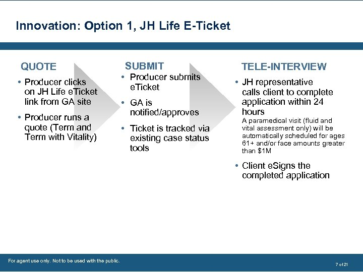 Innovation: Option 1, JH Life E-Ticket QUOTE • Producer clicks on JH Life e.