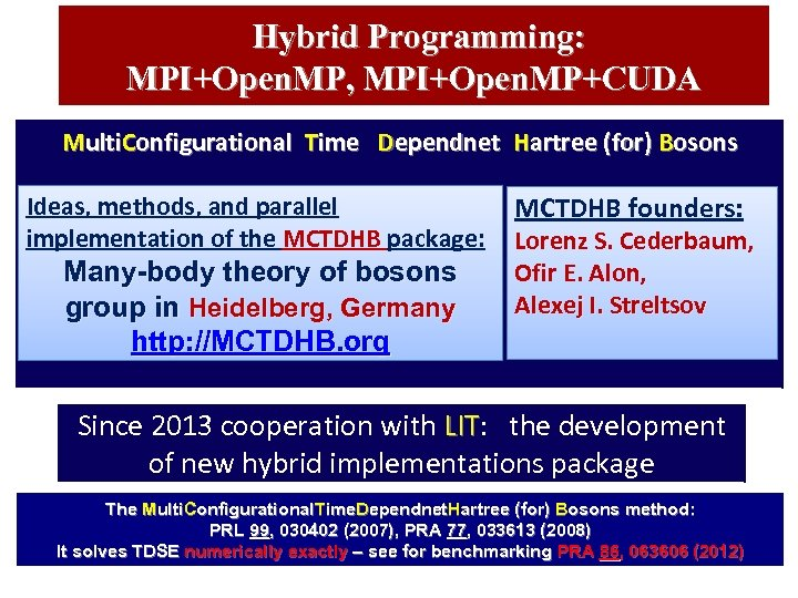 Hybrid Programming: MPI+Open. MP, MPI+Open. MP+CUDA Multi. Configurational Time Dependnet Hartree (for) Bosons Ideas,