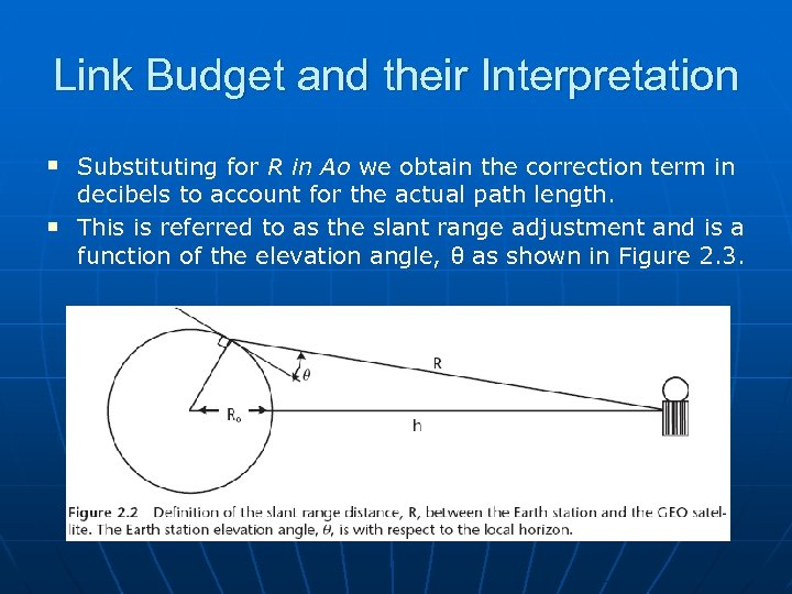 Link Budget and their Interpretation n n Substituting for R in Ao we obtain