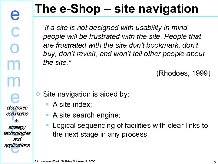 The e-Shop – site navigation 'if a site is not designed with usability in