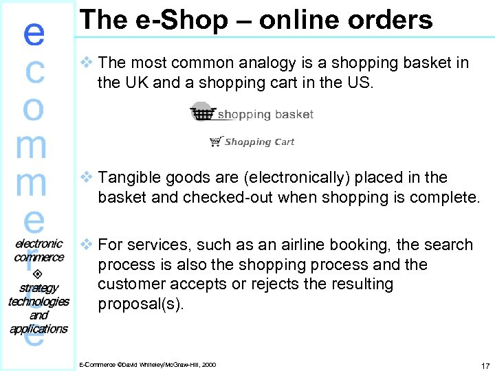 The e-Shop – online orders v The most common analogy is a shopping basket