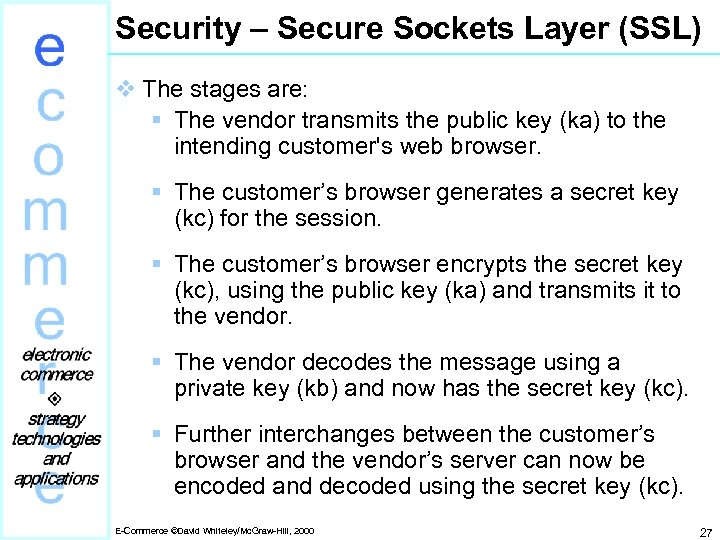 Security – Secure Sockets Layer (SSL) v The stages are: § The vendor transmits