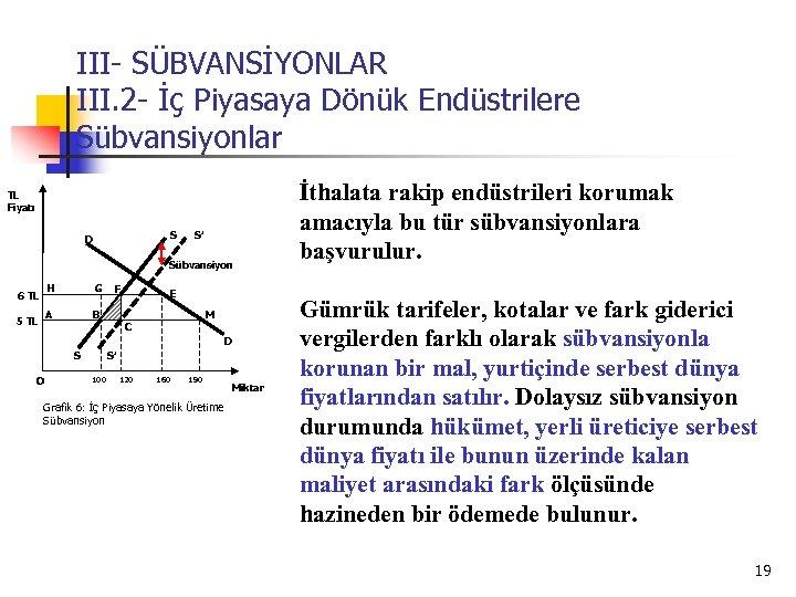 III- SÜBVANSİYONLAR III. 2 - İç Piyasaya Dönük Endüstrilere Sübvansiyonlar TL Fiyatı S D