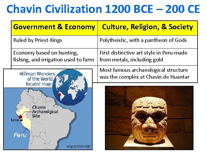 Chavin Civilization 1200 BCE – 200 CE Government & Economy Culture, Religion, & Society