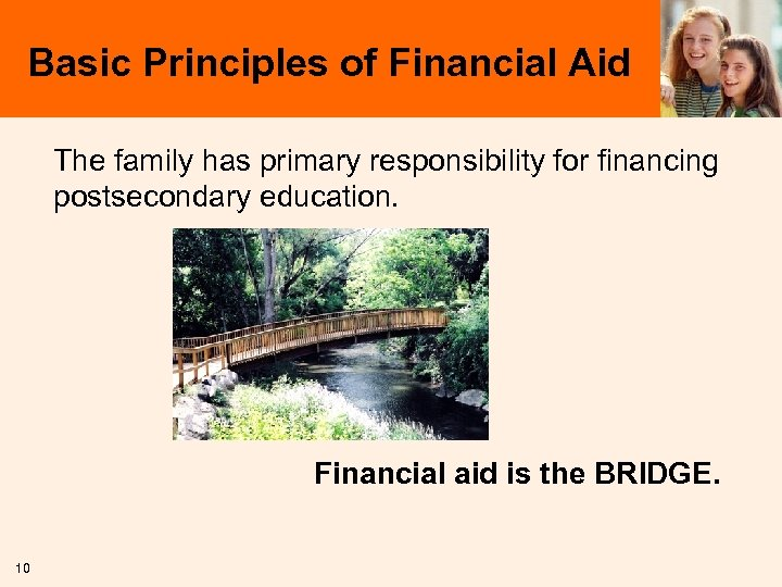 Basic Principles of Financial Aid The family has primary responsibility for financing postsecondary education.