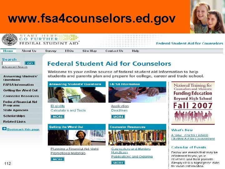 www. fsa 4 counselors. ed. gov 112