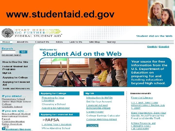 www. studentaid. ed. gov 113