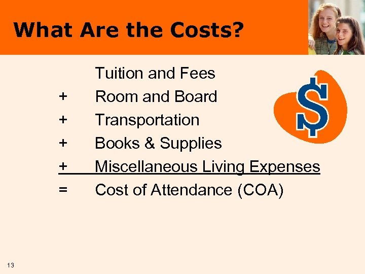 What Are the Costs? + + = 13 Tuition and Fees Room and Board
