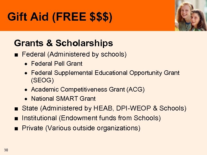 Gift Aid (FREE $$$) Grants & Scholarships ■ Federal (Administered by schools) · Federal