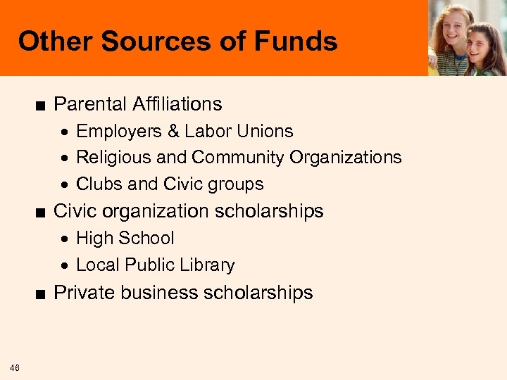 Other Sources of Funds ■ Parental Affiliations · Employers & Labor Unions · Religious